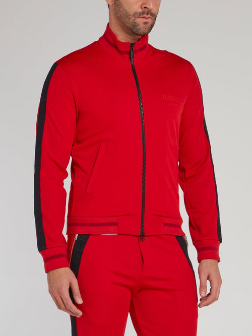 Red High Neck Zip Up Sweatshirt