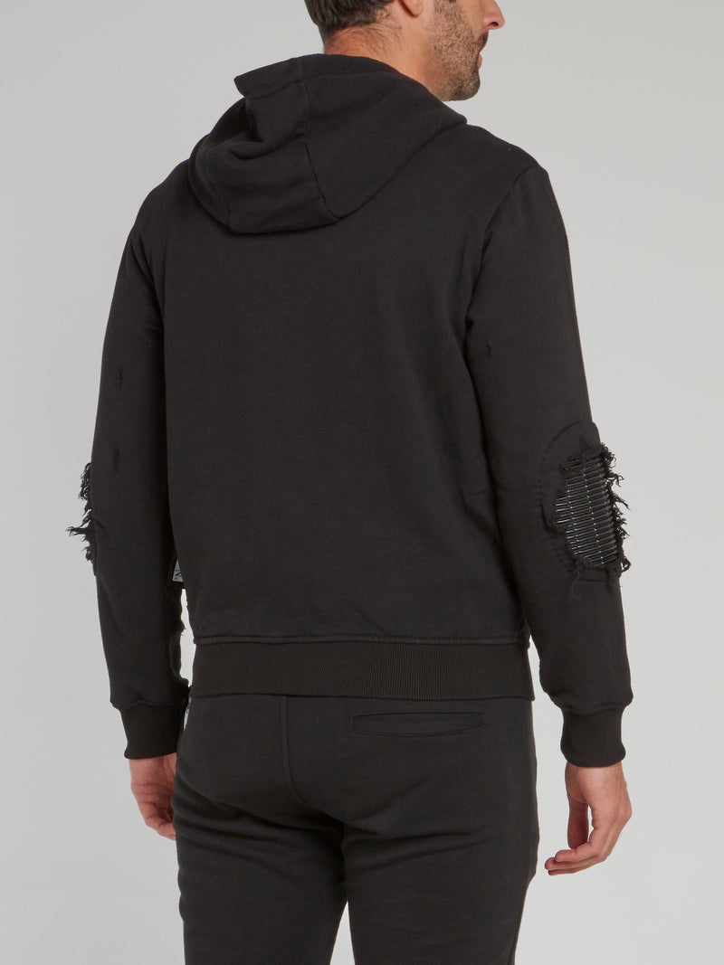 Black Distressed Hoodie Sweatshirt
