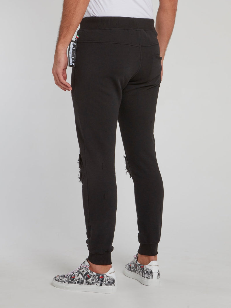 Black Distressed Jogging Trousers
