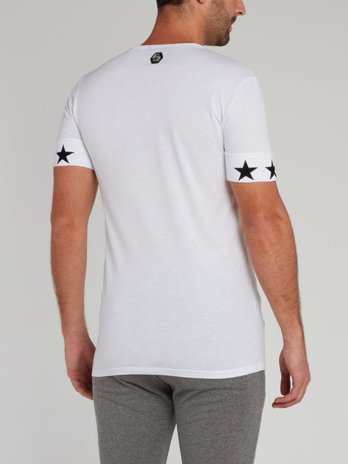 White Stars Skull Cotton T-Shirt