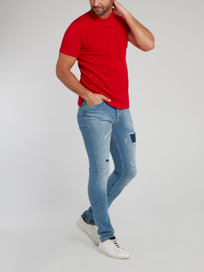 Red Rear Logo Knitted Polo Shirt