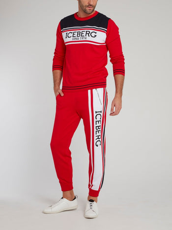 Red Logo Side Stripe Knitted Trousers