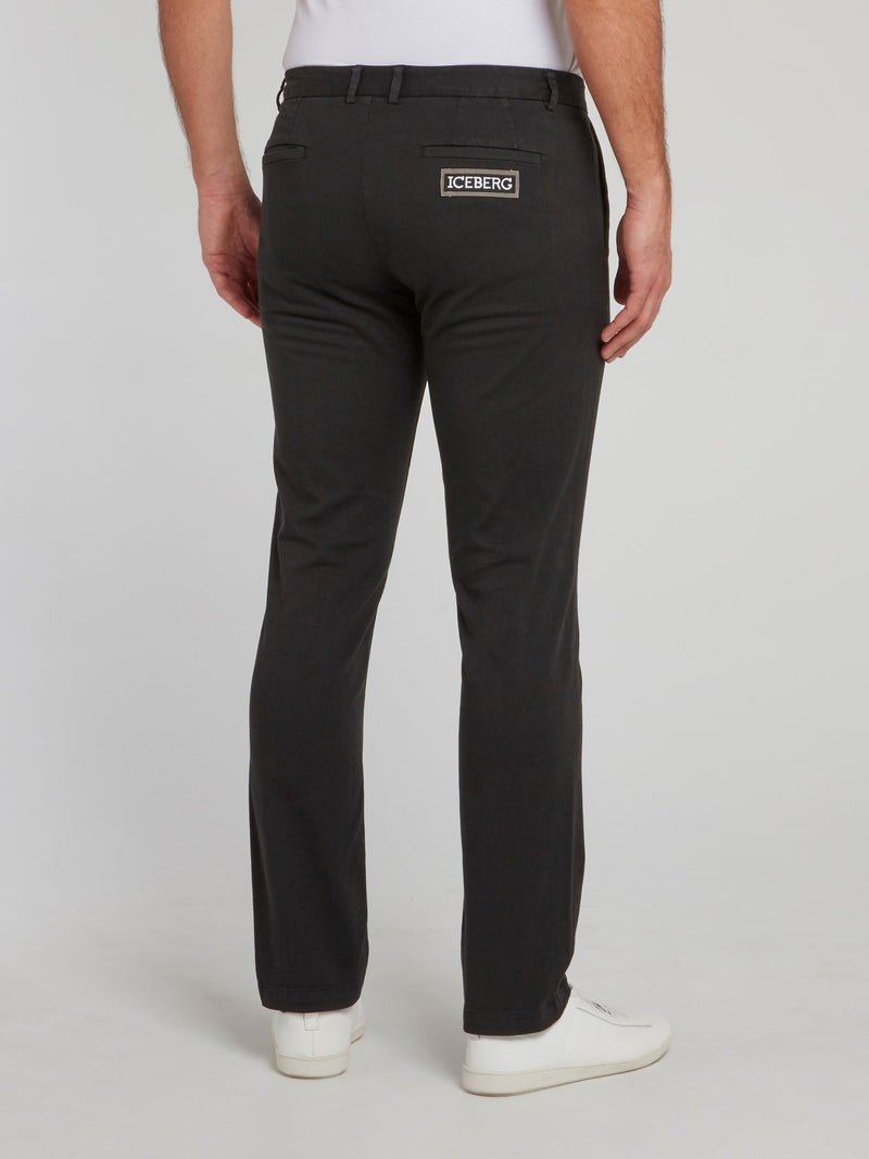 Black Cotton Chino Pants
