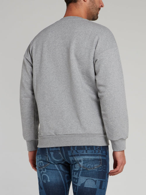 Grey with Blue Logo Embroidered Sweatshirt