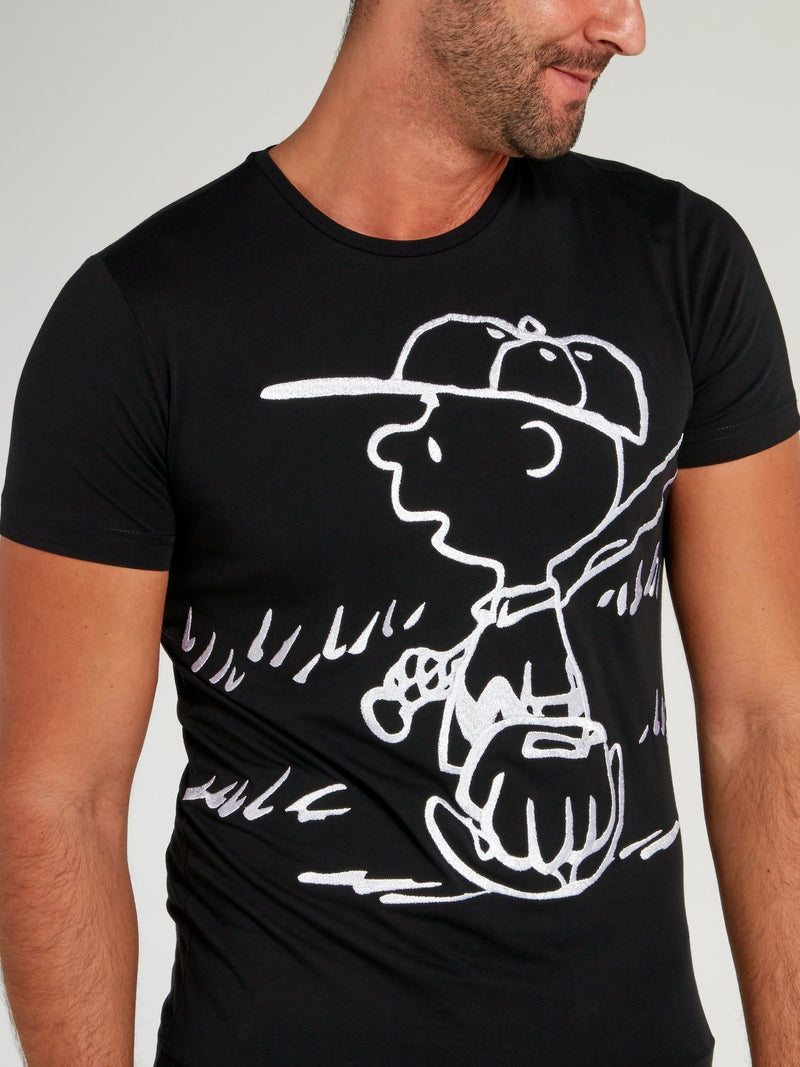 Charlie Brown Black Cotton T-Shirt