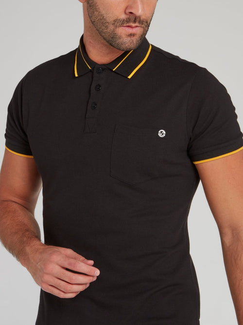 Black Piquet Stretch Polo Shirt
