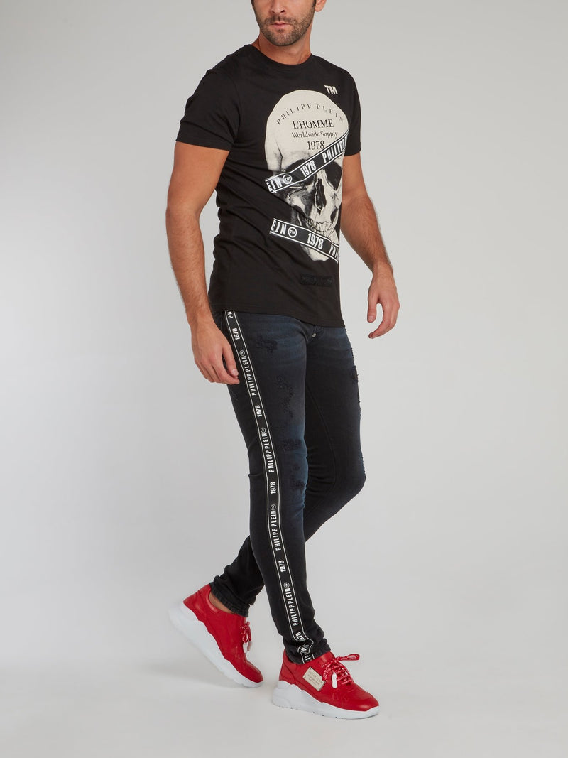 Black Logo Tape Distressed Jeans