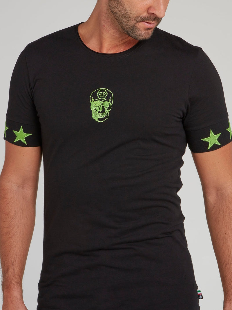 Black with Green Stars Skull T-Shirt