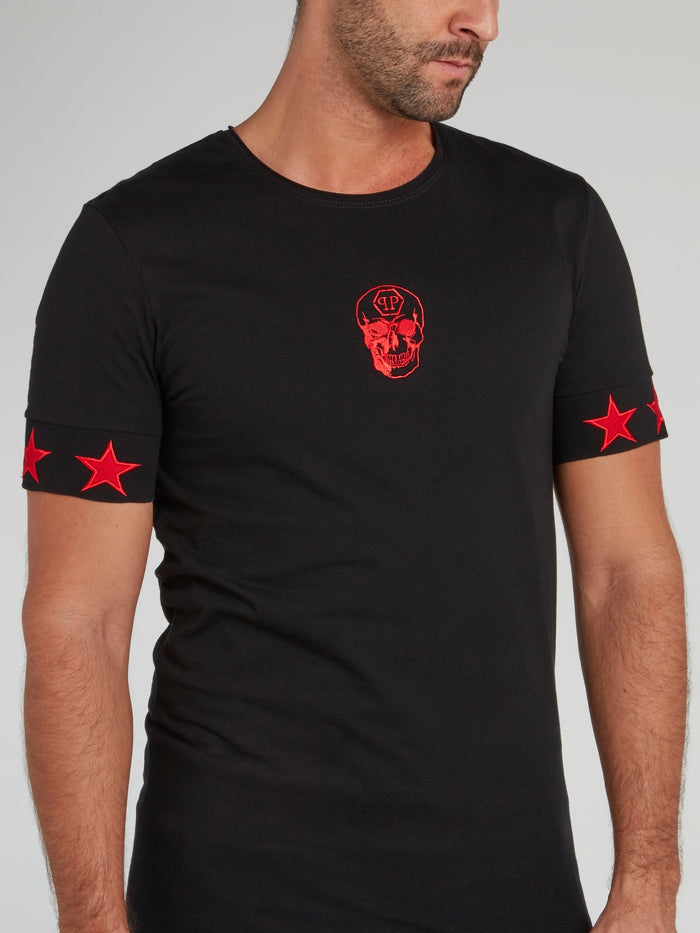 Black with Red Stars Skull T-Shirt