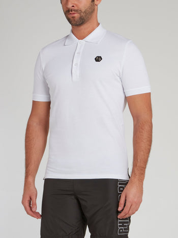 White Rear Statement Polo Shirt