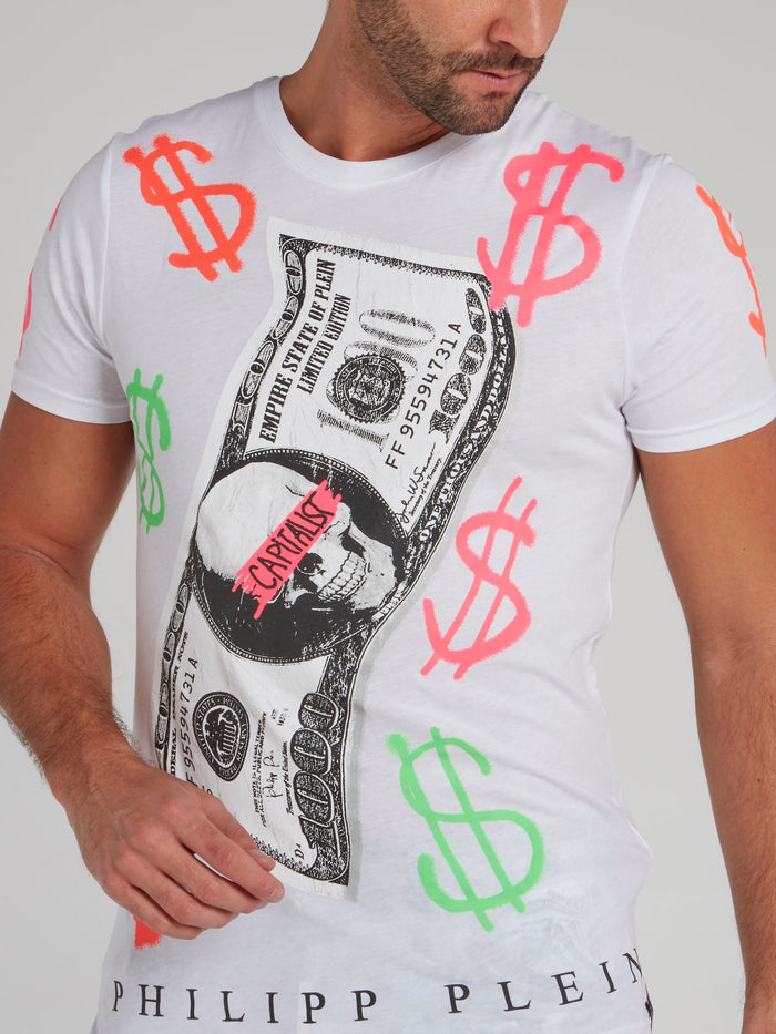 White Dollar Skull Print T-Shirt