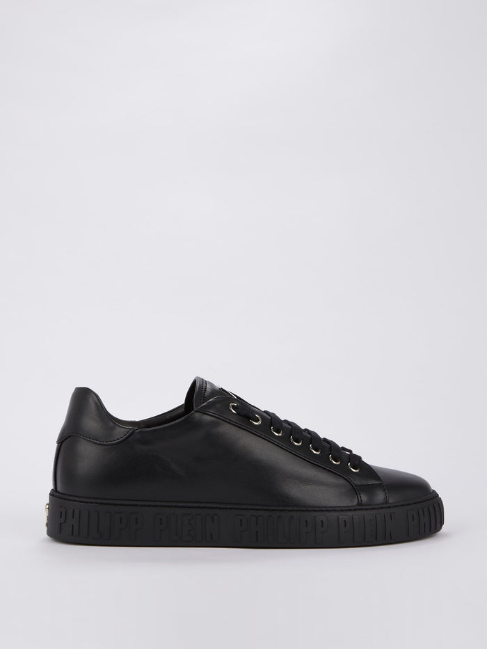 Black Embossed Logo Sole Sneakers