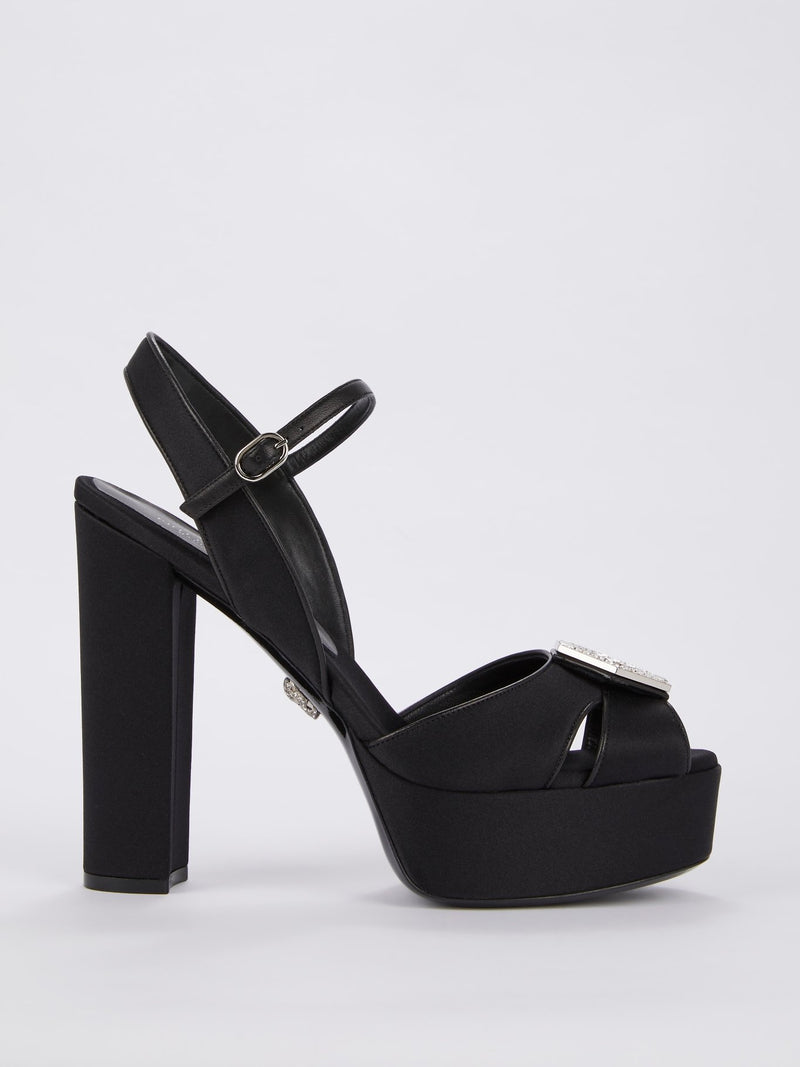 Black Slingback High Heel Sandals