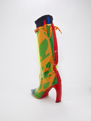 Neon Overlay Knee High Boots