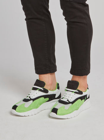 Green Suede Panel Platform Sneakers