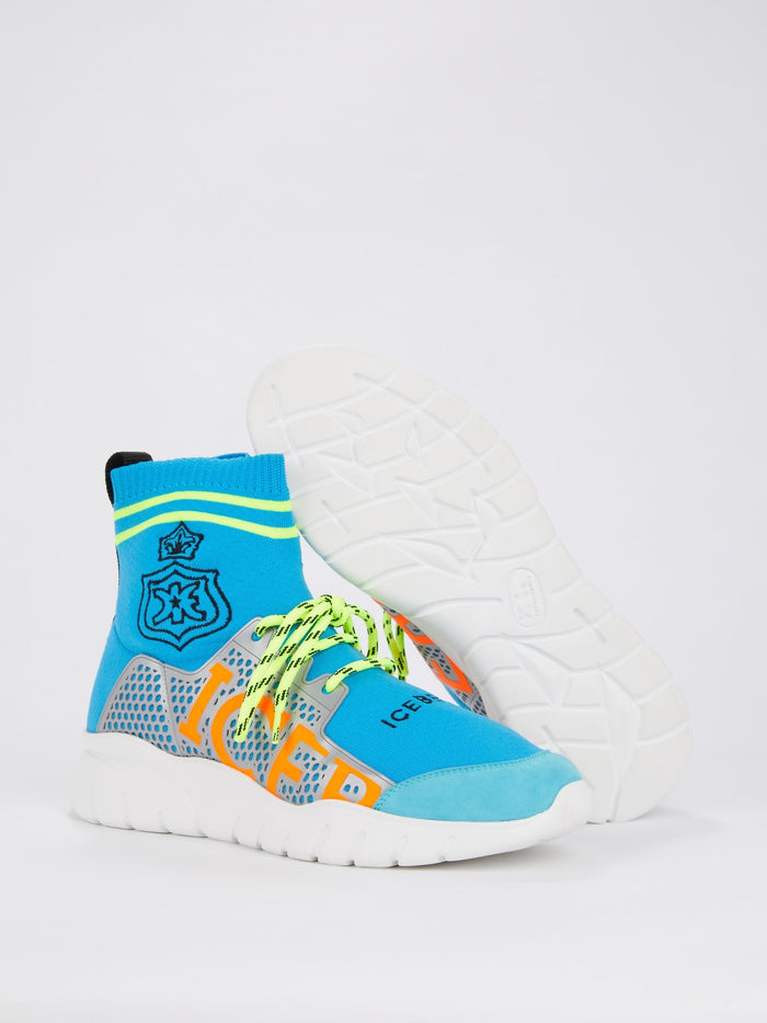 Blue Neon Sock Sneakers
