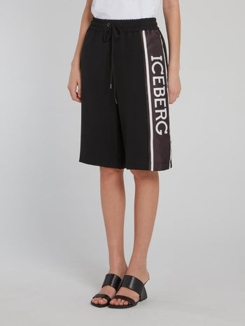 Black Logo Side Stripe Shorts