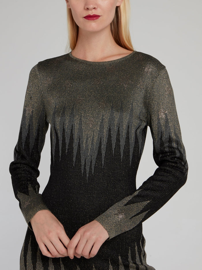 Metallic Embellished Sweater Dress