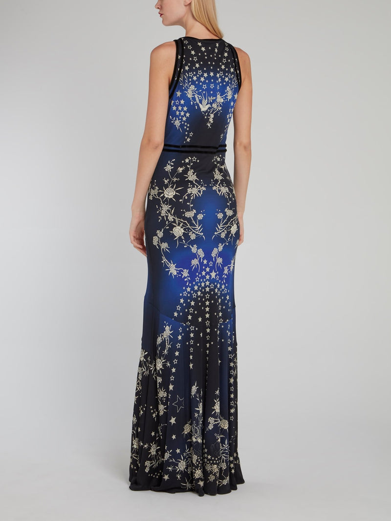 Star Print Corsage High-Low Dress