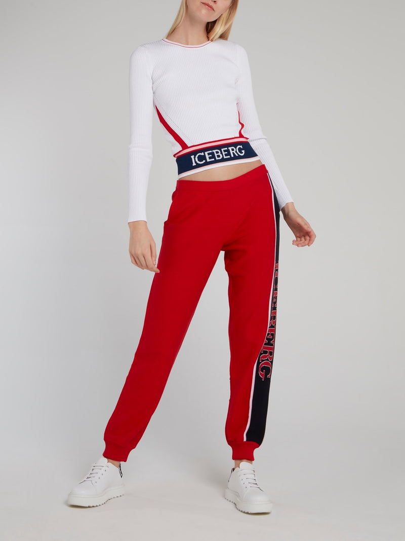 Red Logo Side Stripe Knitted Pants