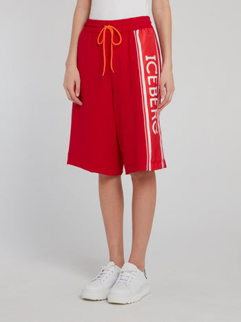 Red Logo Side Stripe Shorts
