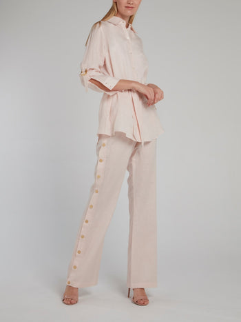 Side Button Linen Trousers