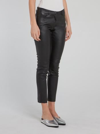 Black Cropped Leather Trousers