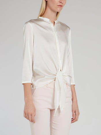 White Knotted Silk Shirt
