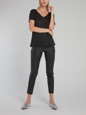 Black V-Neck Linen T-Shirt