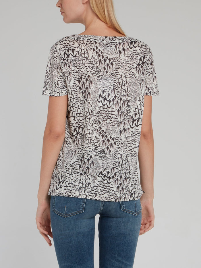 Printed V-Neck Linen T-Shirt