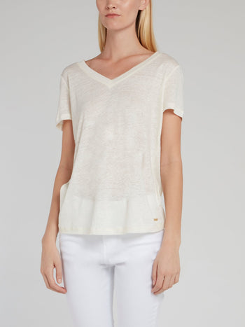 White V-Neck Linen T-Shirt