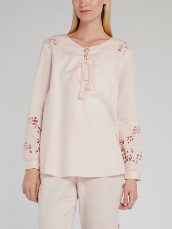 Pink Embroidered Linen Shirt
