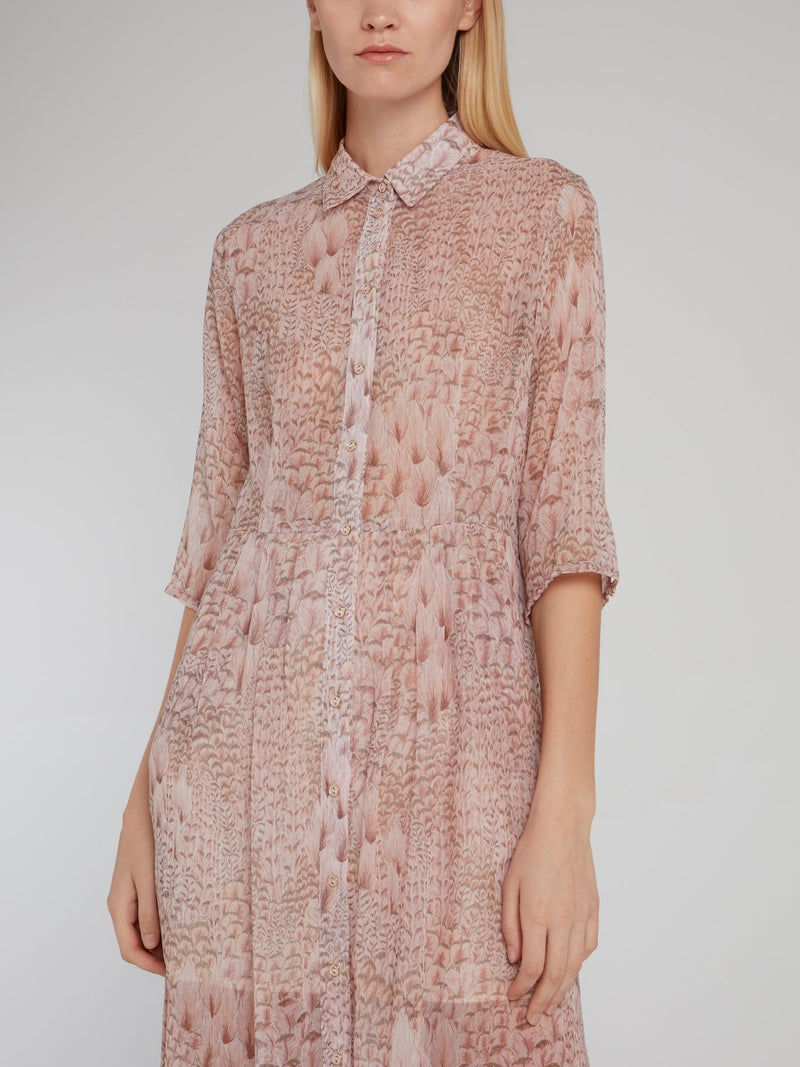 Pink Printed Button Up Dress