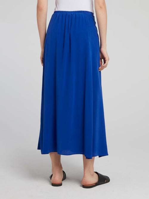 Blue Gathered Midi Skirt