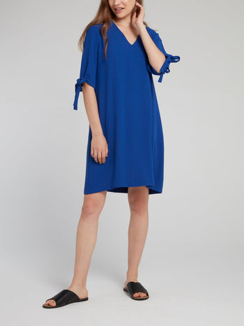 Blue Tie Sleeve Shift Dress