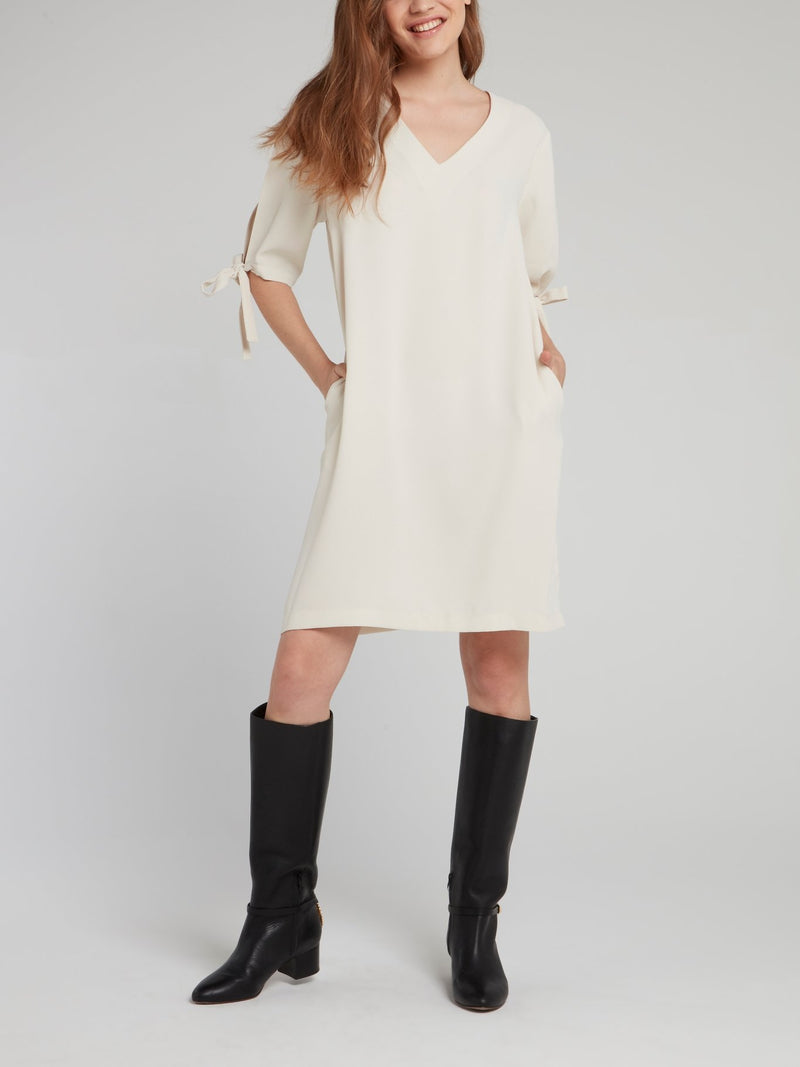 Beige Tie Sleeve Shift Dress