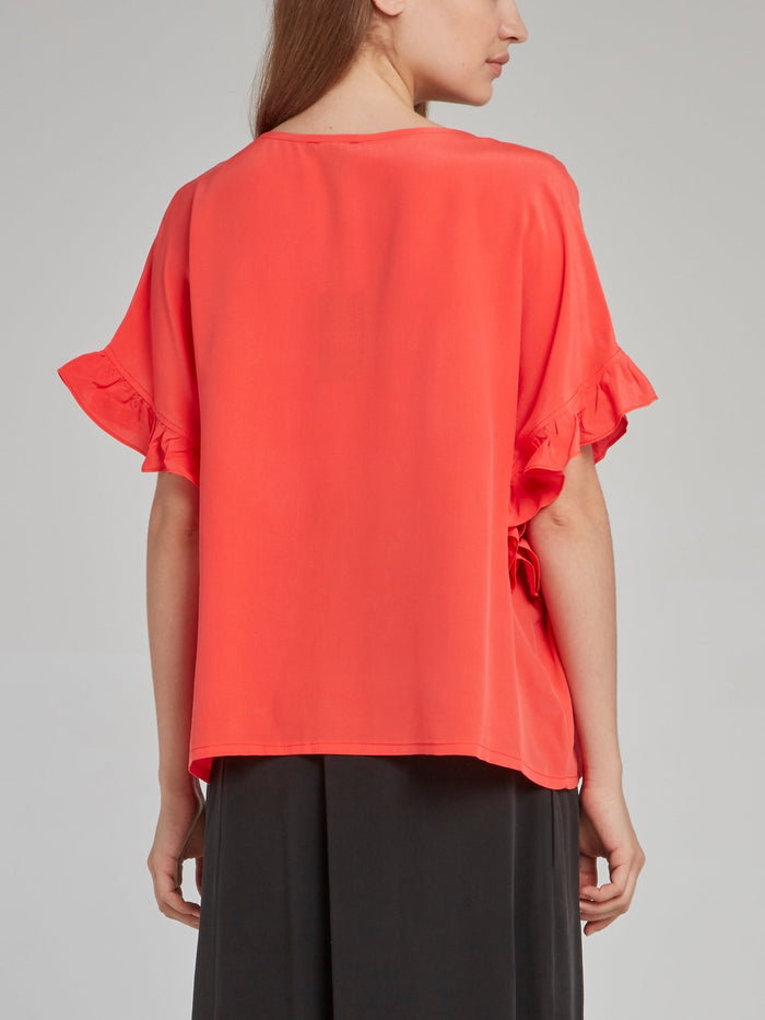Coral Frill Sleeve Silk Top