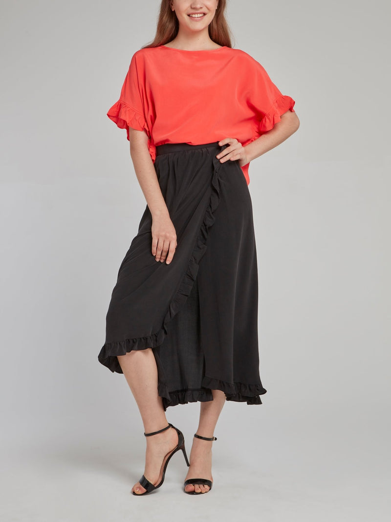 Noir Wrap Midi Skirt