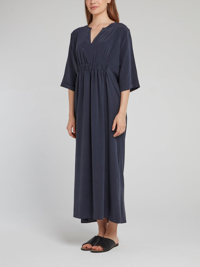 Navy Ruched Maxi Dress