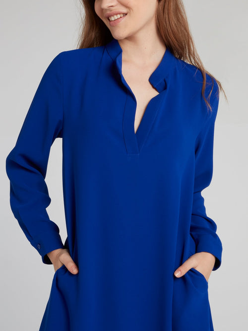 Blue Silk Midi Shift Dress