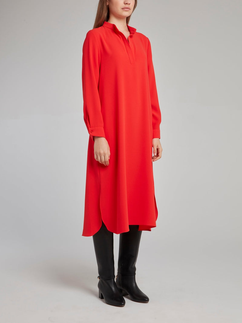 Red Silk Midi Shift Dress