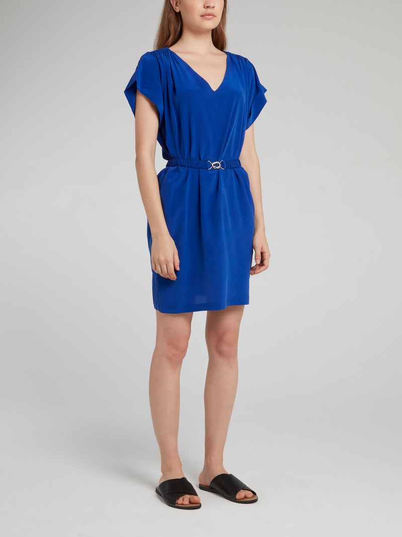 Cobalt Belted Silk Dress