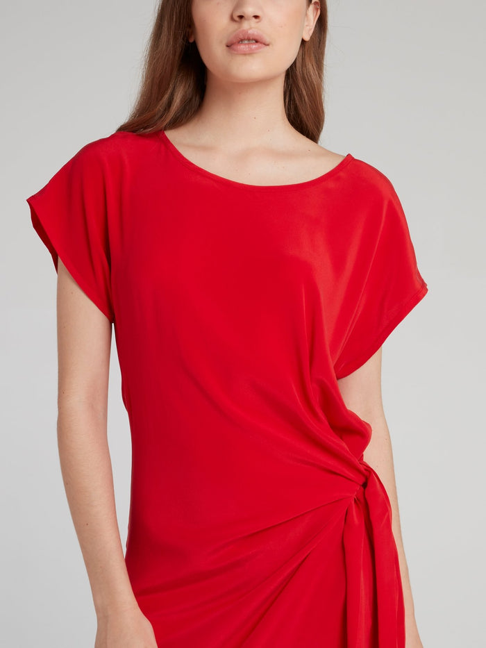 Ruby Draped Silk Dress