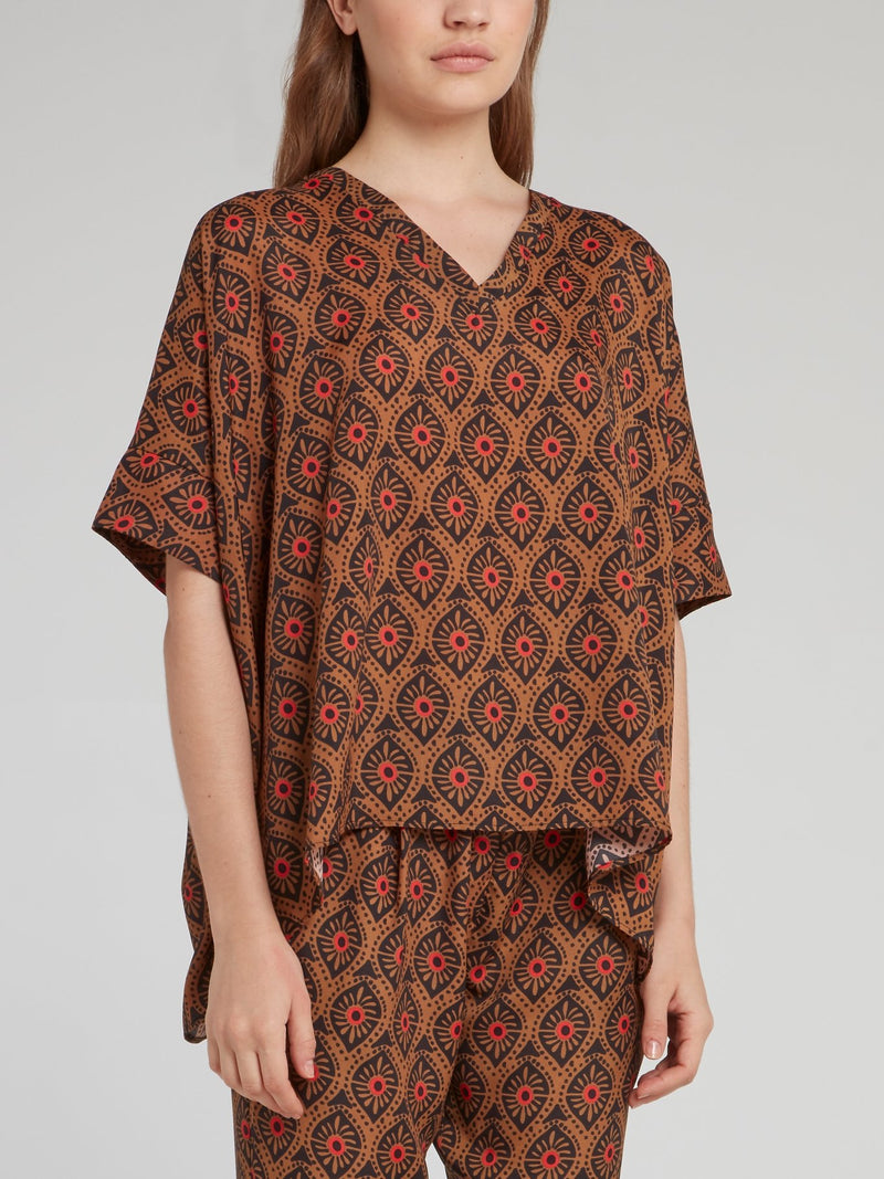 Brown Pattern V-Neck Trapeze Top