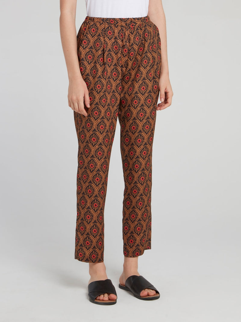 Brown Pattern Cropped Tapered Pants