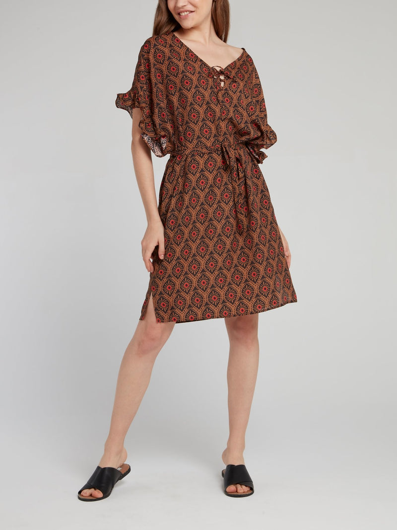 Brown Pattern Frill Sleeve Dress