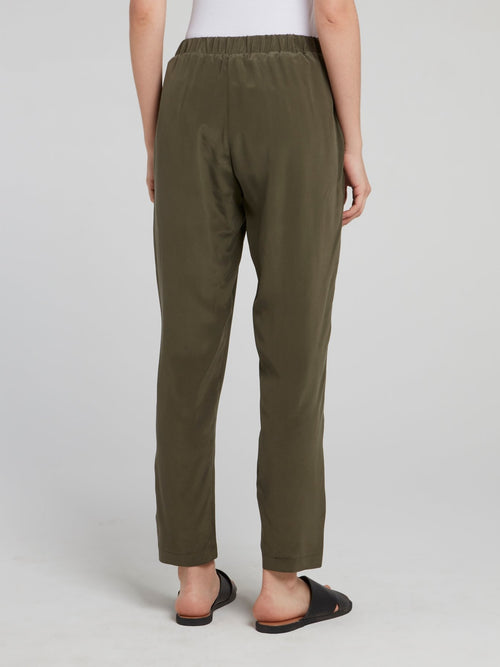 Olive Cropped Tapered Pants