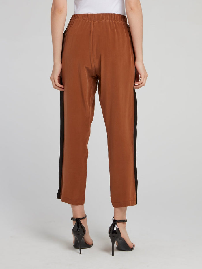 Brown Side Stripe Tapered Pants