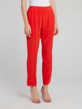 Red Cropped Tapered Pants