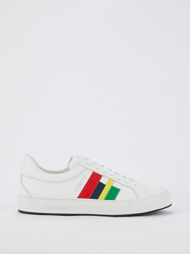 White Colour Stripe Sneakers